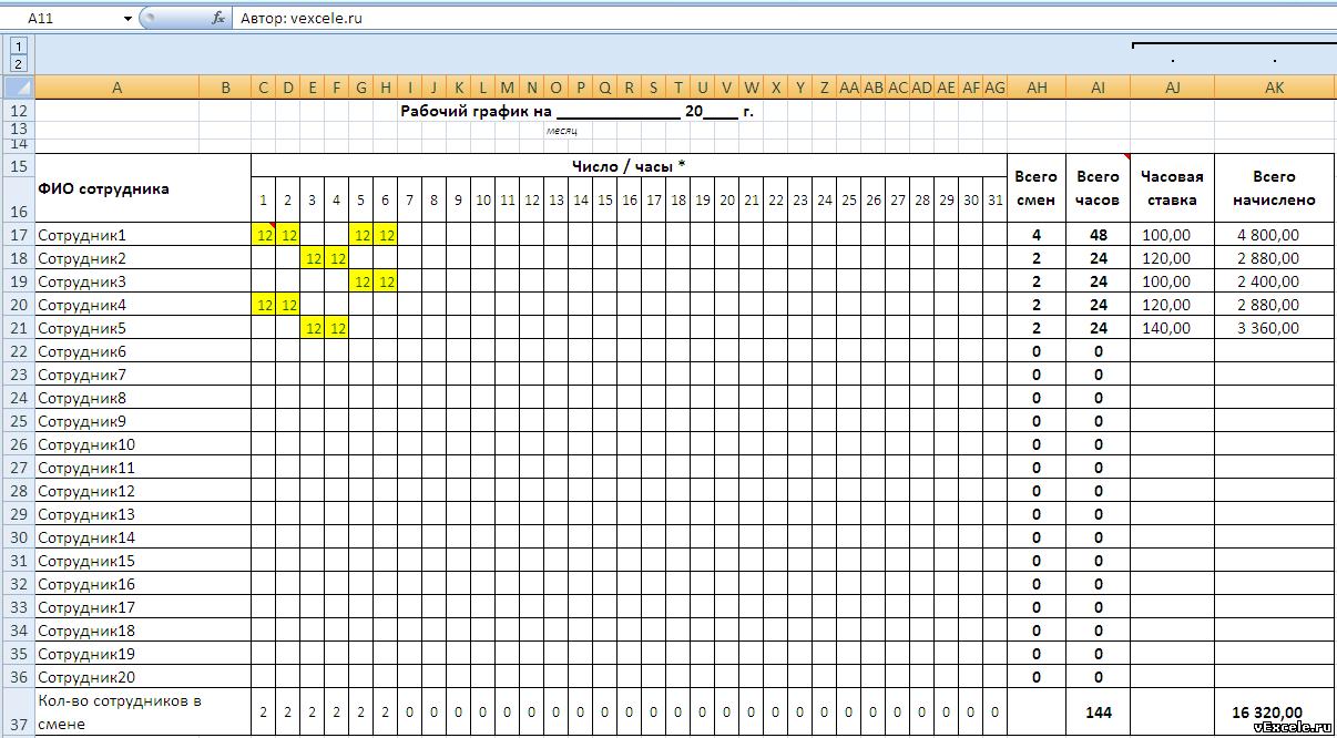 бланк графики дежурства сторожей